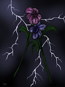 Lightning Storms Digital Art Prints - Lightning Flowers Print by Donny Stansel
