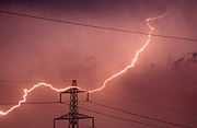 Electricity Posters - Lightning Hitting An Electricity Pylon Poster by Peter Lawson