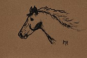 Horse Drawing Digital Art Posters - Lightning Poster by Marsha Heiken