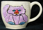 Whimsical Ceramics Posters - Lightning Nose Kitty Mug Poster by Joyce Jackson