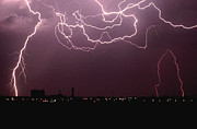 Dark Gray Framed Prints - Lightning Over City Framed Print by John Foxx