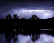 Lightning Bolts Posters - Lightning Over Coot Lake Poster by James Bo Insogna