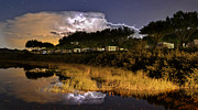 Lightning Digital Art - Lightning Over Lake Pearl by Mark Walter