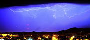 Lightning Weather Stock Images Posters - Lightning Over Loveland Colorado Foothills Panorama Poster by James Bo Insogna