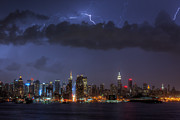 Skies - Lightning Over New York City I by Clarence Holmes
