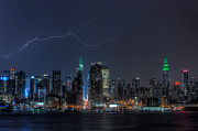 Big Al Framed Prints - Lightning Over New York City IX Framed Print by Clarence Holmes