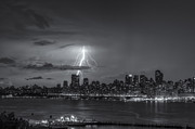 Blue And White Prints - Lightning Over New York City VI Print by Clarence Holmes