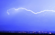 Lightning Bolt Pictures Prints - Lightning Over North Boulder Colorado - Cropped Print by James Bo Insogna
