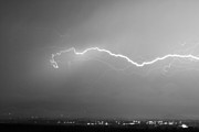 Lightning Weather Stock Images Art - Lightning Over North Boulder Colorado  IBM BW by James Bo Insogna