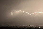 Lightning Weather Stock Images Art - Lightning Over North Boulder Colorado  IBM Sepia by James Bo Insogna