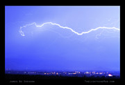 Unusual Lightning Prints - Lightning Over North Boulder Colorado  Poster LM Print by James Bo Insogna