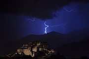 Lightning Strike Posters - Lightning over Potala Palace Poster by Hitendra SINKAR