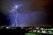 Lightning Digital Art - Lightning Over the City by Chris Spannagle
