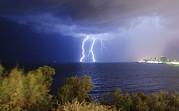 Tel Aviv Posters - Lightning Over The Mediterranean Poster by Photostock-israel