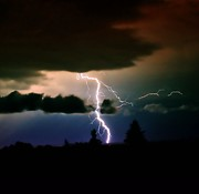 Storm Digital Art Metal Prints - Lightning over the Plains I Metal Print by Ellen Lacey
