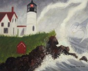 Molleur Posters - Lightning Storm at Nubble Light Poster by Suzanne  Marie Leclair