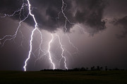 Natural Phenomenon Prints - Lightning Storm In Alberta, Canada Print by Zoltan Kenwell