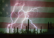Lightning Bolts Posters - Lightning Storm in the USA Desert Flag Background Poster by James Bo Insogna