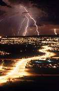 Lightning Bolts Posters - Lightning Storm Poster by Kent Wood and Photo Researchers