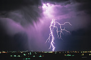Lightning Wall Art Prints - Lightning Storm Print by Leland Howard