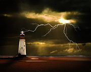 Lighthouse Sea Prints - Lightning Storm Print by Meirion Matthias