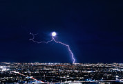 Cloud To Ground Framed Prints - Lightning Strike At Night In Tucson, Arizona, Usa Framed Print by Keith Kent