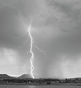 Lightning Bolt Pictures Prints - Lightning Strike Colorado Rocky Mountain Foothills BW Print by James Bo Insogna