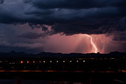 Arizona Lightning Posters - Lightning Strike Poster by Eddie Yerkish