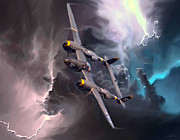 World War 2 Aviation Prints - Lightning Strike Print by Peter Chilelli