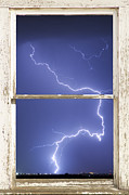 Window Frame Framed Prints - Lightning Strike White Barn Picture Window Frame Photo Art  Framed Print by James Bo Insogna