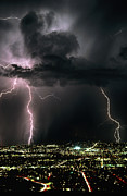 Cloud To Ground Framed Prints - Lightning Strikes At Night In Tucson, Arizona, Usa Framed Print by Keith Kent