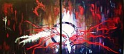 Large Canvases Originals - Lightning strikes by Bertha Hamilton