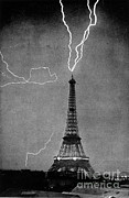 Lightning Bolts Prints - Lightning Strikes Eiffel Tower, 1902 Print by Science Source
