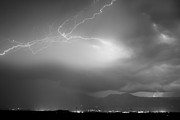 Lightning Bolts Prints - Lightning Strikes Over Boulder Colorado BW Print by James Bo Insogna