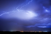 Lightning Bolts Posters - Lightning Strikes Over Boulder Colorado Poster by James Bo Insogna