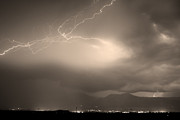Lightning Bolts Posters - Lightning Strikes Over Boulder Colorado Sepia Poster by James Bo Insogna