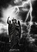 Statue Framed Prints - Lightning Strikes the Angel Gabriel Framed Print by Christopher and Amanda Elwell