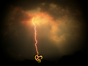 Lightning Prints - Lightning Strikes The Heart Print by Trish Tritz