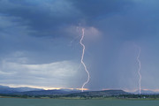 Lightning Bolt Pictures Prints - Lightning Striking At Sunset Rocky Mountain Foothills Print by James Bo Insogna