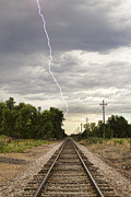 Lightning Weather Stock Images Posters - Lightning Striking By The Train Tracks Poster by James Bo Insogna