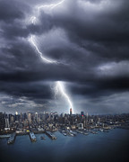 Threats Prints - Lightning Striking Empire State Building Print by Gandee Vasan
