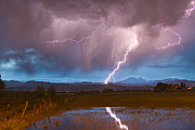 C2g Posters - Lightning Striking Longs Peak Foothills 2 Poster by James Bo Insogna