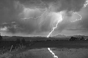 Storm Prints Photo Prints - Lightning Striking Longs Peak Foothills 2BW Print by James Bo Insogna