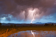 Lightening Prints - Lightning Striking Longs Peak Foothills 3 Print by James Bo Insogna