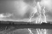 C2g Posters - Lightning Striking Longs Peak Foothills 4BW Poster by James Bo Insogna