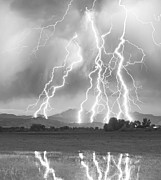 Cloud Prints Prints - Lightning Striking Longs Peak Foothills 4CBW Print by James Bo Insogna