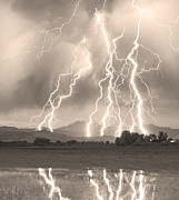 Lightning Photography Photos - Lightning Striking Longs Peak Foothills 4CBWSepia by James Bo Insogna