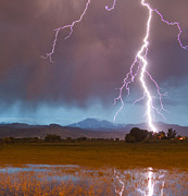 Lightning Prints Framed Prints - Lightning Striking Longs Peak Foothills 5 Crop Framed Print by James Bo Insogna