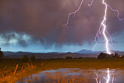 Lightening Prints - Lightning Striking Longs Peak Foothills 5 Print by James Bo Insogna