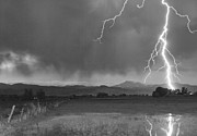 Lightning Prints Framed Prints - Lightning Striking Longs Peak Foothills 5BW Framed Print by James Bo Insogna